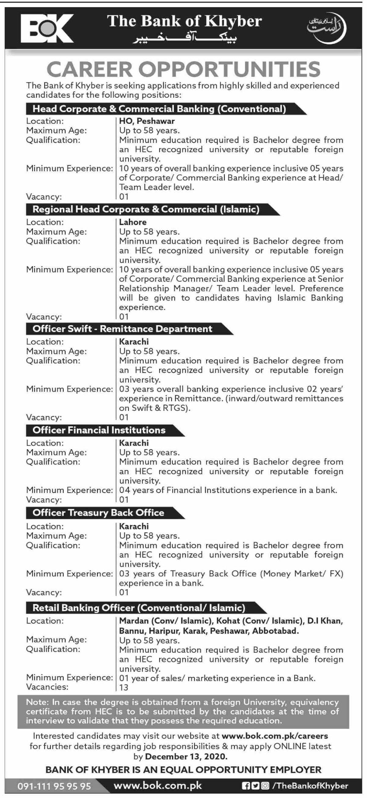 👉 #Jobs - #Career_Opportunities - at bank of khyber ltd  #Jobs Laste date 13December 2020
