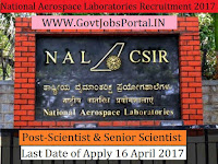 National Aerospace Laboratories Recruitment 2017– Scientist/ Senior Scientist