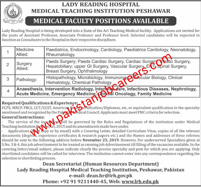 Latest Lady Reading Hospital (LRH) Peshawar Jobs 2019 for Teaching Faculty