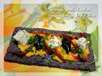 Tartinade carotte-beaufort, tomates confites, feta et olives