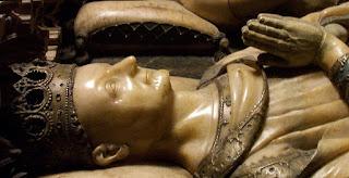 Carlos III, el noble, Navarra, Detalle de su escultura yacente en el sepulcro de la Catedral de Pamplona (Janin Lomme de Tournai, 1416)