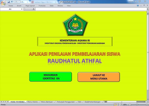 Aplikasi Raport RA Kurikulum 2013 Versi Kemenag Jawa Timur