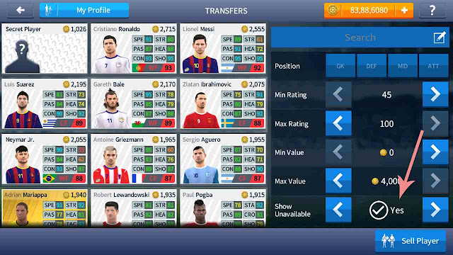 cheat dream league soccer 2017 player