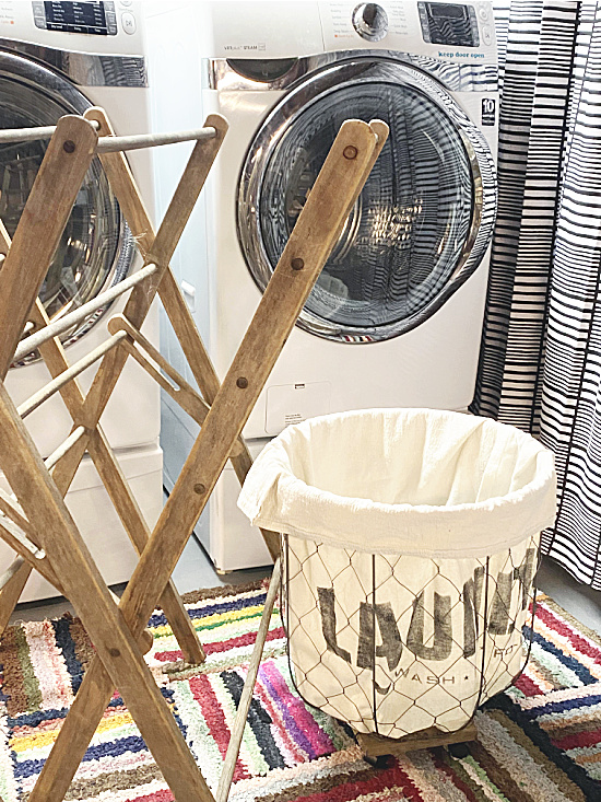 washer, drying rack and rolling laundry basket