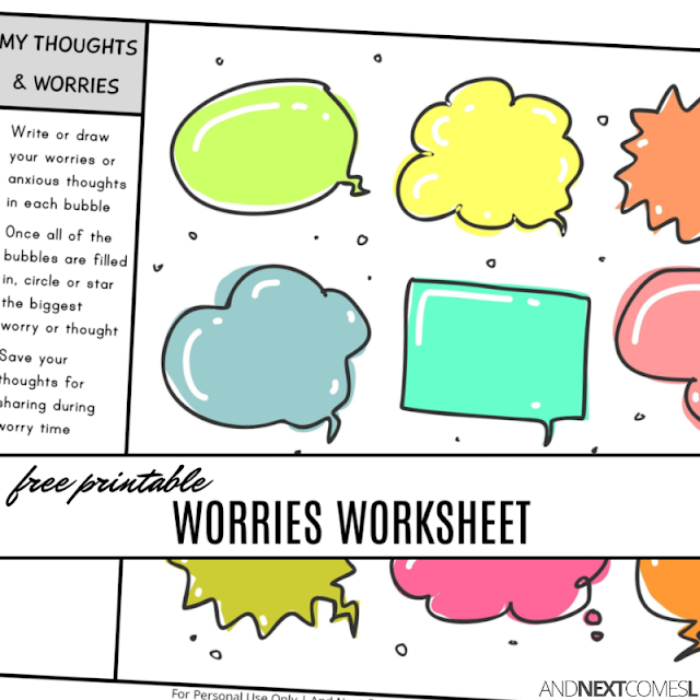 Free printable worries worksheet for kids