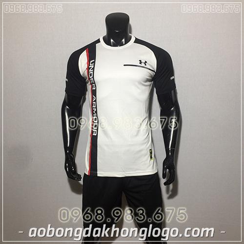 Áo bóng đá ko logo Under màu trắng