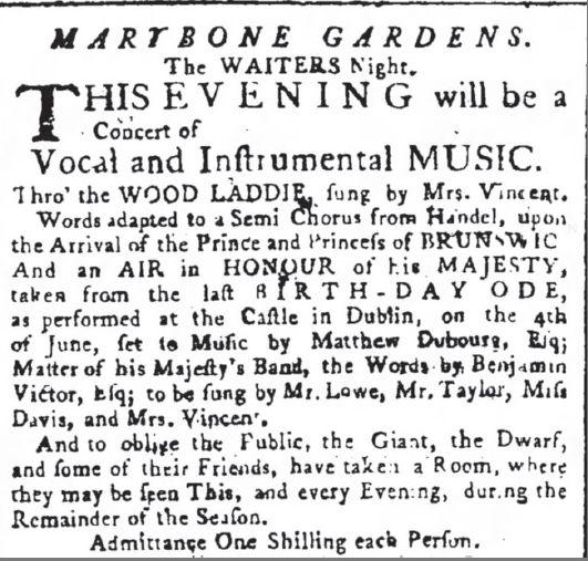 Marylebone Gardens Concert 1765 publicité