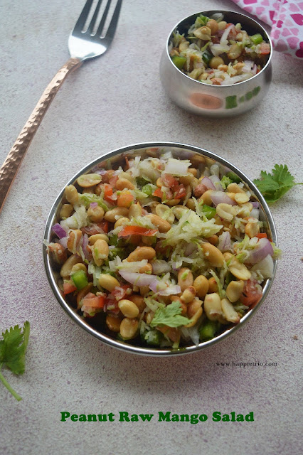 Peanut Raw Mango Salad Recipe | Homemade Simple Peanut Salad.
