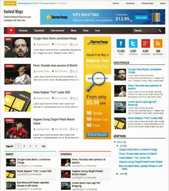 Fastest Magz - Premium Blogger Template Responsive FREE