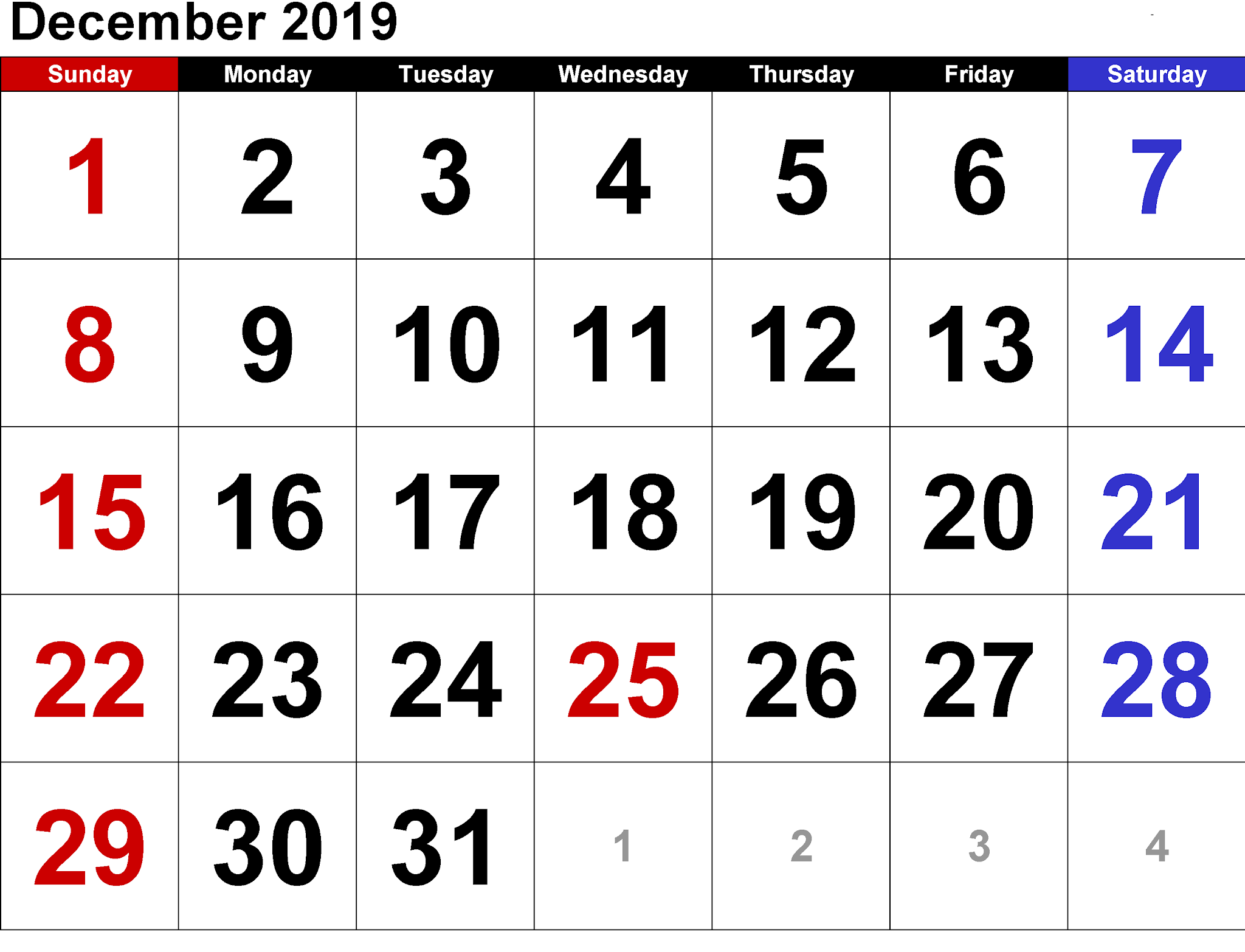 December 2019 Calendar Printable Free Download In Word Excel Pdf
