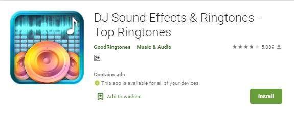 dj sound effects and ringtone app