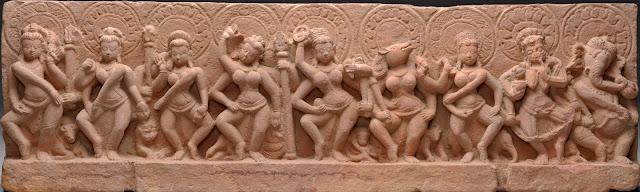 The Sapta Matrikas Flanked by Shiva and Ganesha. Madhya Pradesh, 9th century