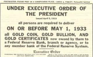 1933년 미국 금 몰수 대통령 행정명령서