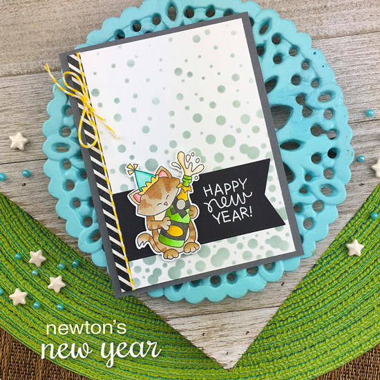 New Year Cat Card by Jennifer Jackson | Newton's New Year Stamp Set and Bubbly Stencil by Newton's Nook Designs #newtonsnook #handmade