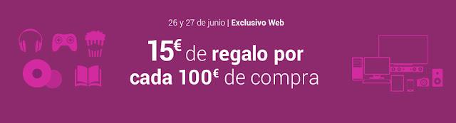 15 € de regalo por cada 100 € de compra Fnac.es