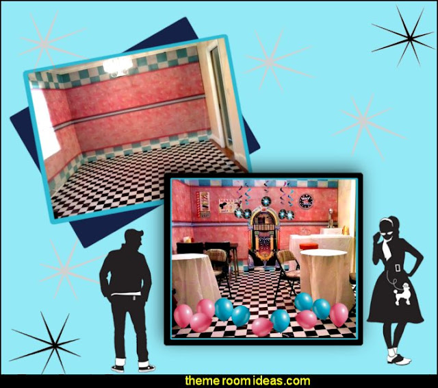 50s party room decorating  50s party ideas - 50s party decorations - 1950s Theme Party - 1950's Rock and  Roll Themed Party Supplies - 50s Rock and Roll Theme Party - 50s party decorations - 50s party props - 50s diner party