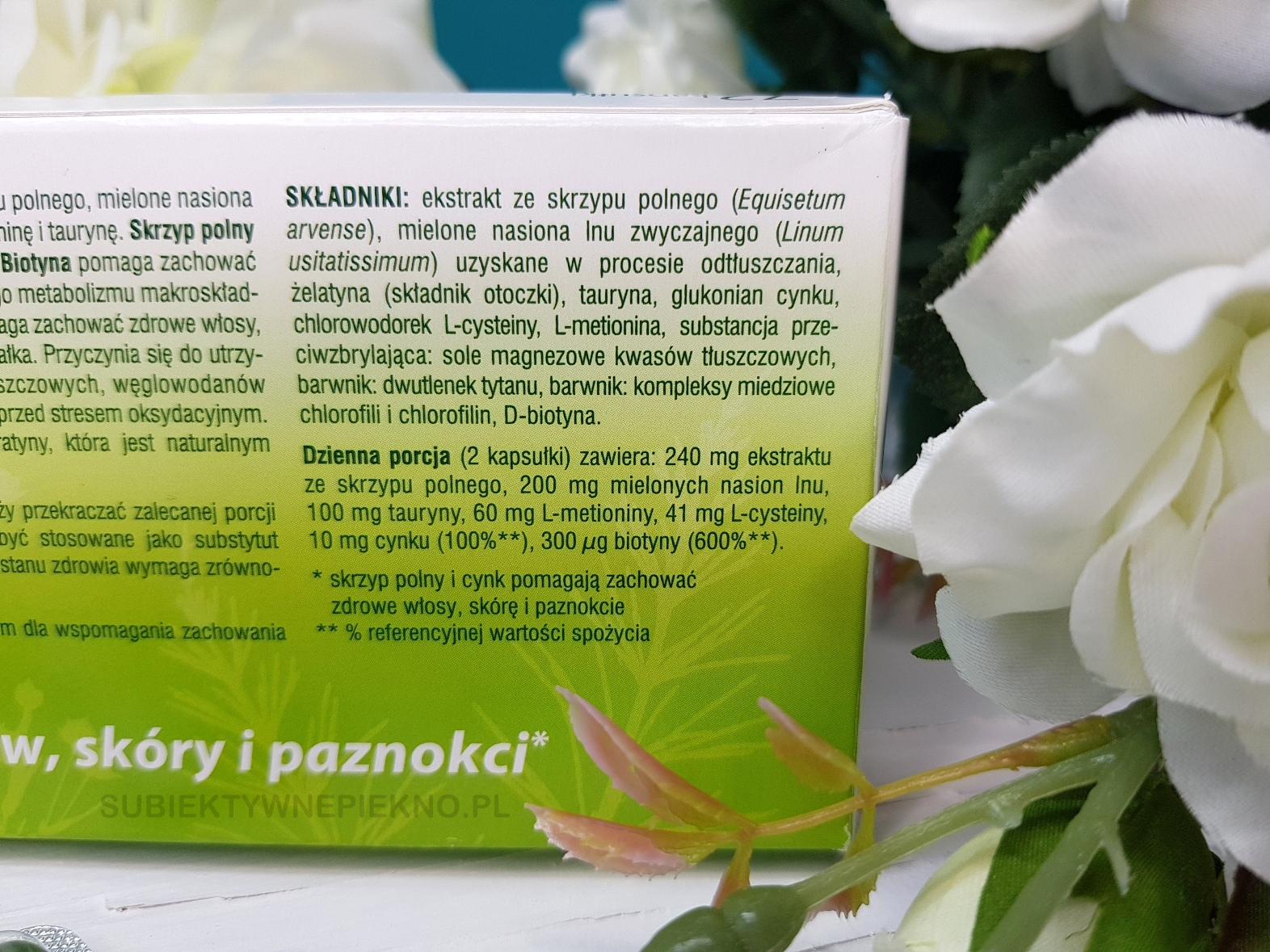 Skrzypolen z biotyną Oleofarm dla włosów, paznokci i skóry 72  skład, działanie, opinie, blog