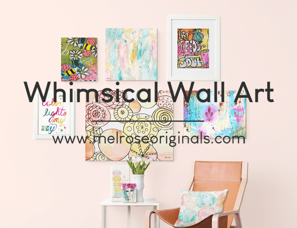 staged image of Melrose Originals art in a colorful, fun wall gallery