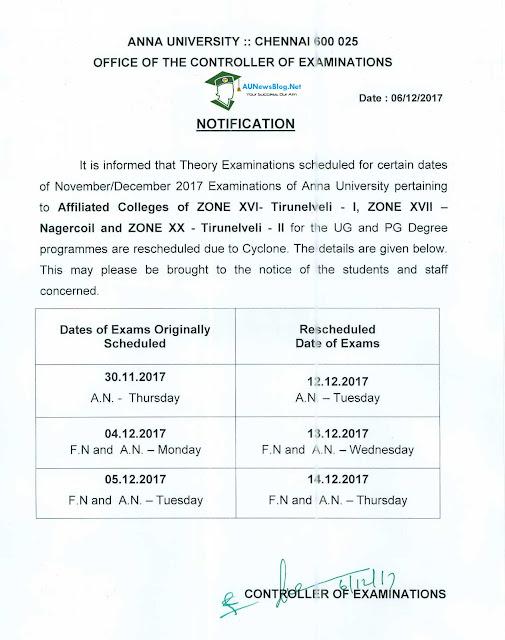 Anna University Postponed Exam Rescheduled Date for Tirunelveli & Nagercoil Nov Dec 2017