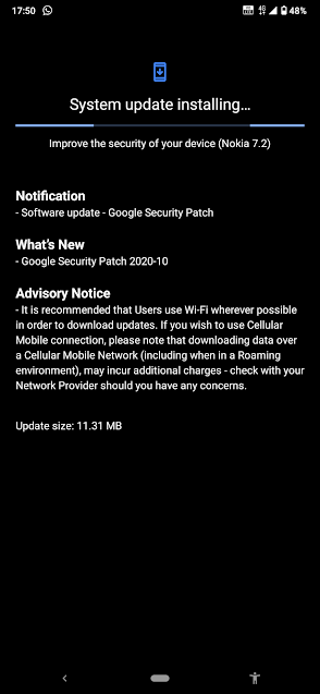 Nokia 7.2 receiving October 2020 Android Security patch