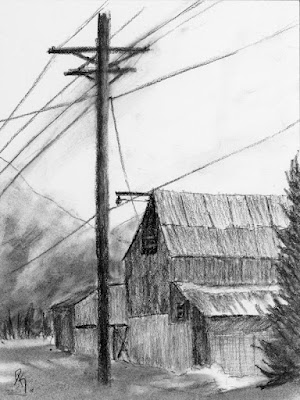 charcoal sketch drawing barn rural winter