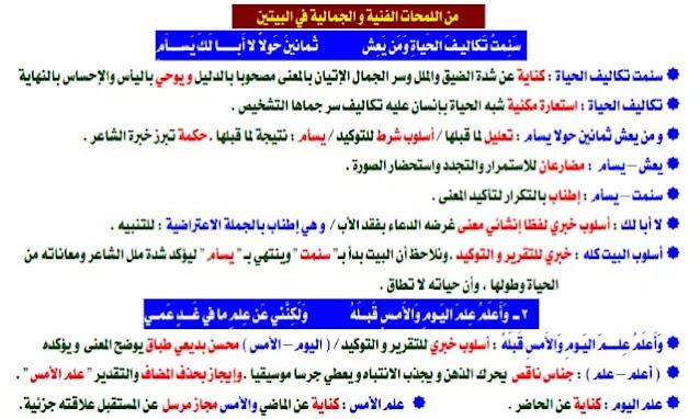 مذكرة لغة عربية للصف الثاني الثانوي ترم اول 2022