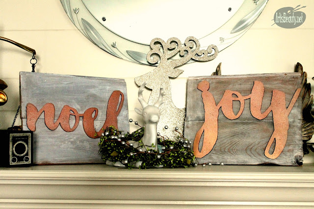 noel and joy vintage driftwood shiplap christmas signs diy artisbeauty copper spray paint makeover airstrike nailer