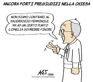 papa francesco, diacone, sacerdoti, donne, vignetta, satira