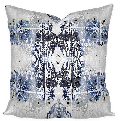moroccan pillow cover blue black gray