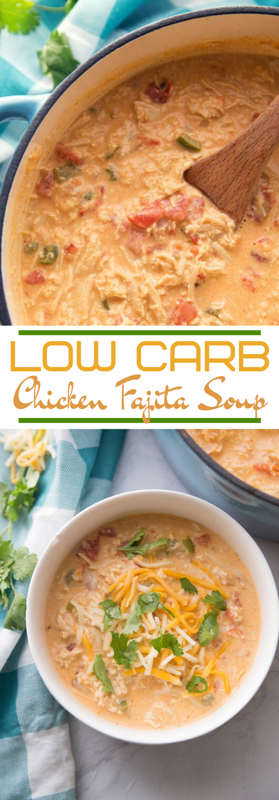 Low Carb Chicken Fajita Soup #lowcarb #dinner #soup #keto #recipes