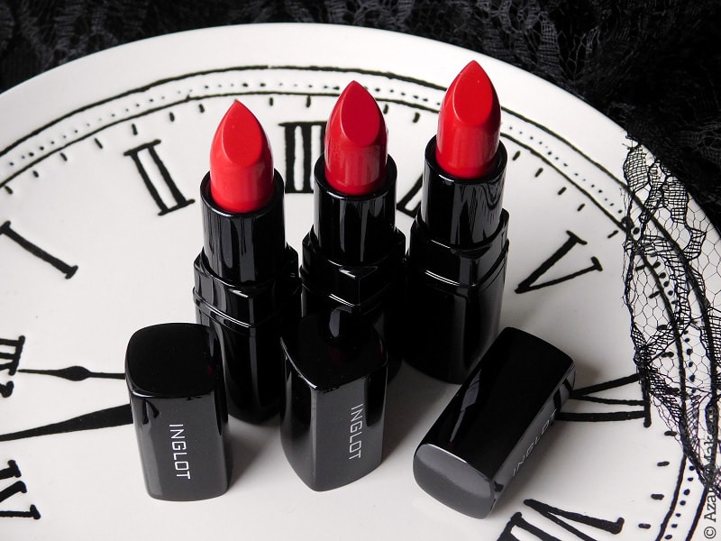 Inglot Cosmetics | Matte Red Lipsticks 408 409 429 Review & Swatches - Avis Rouge à lèvres - Comparison Comparaison M.A.C. Dupes Ruby Woo, Russian Red, Red Rock, M.A.C. Red Satin