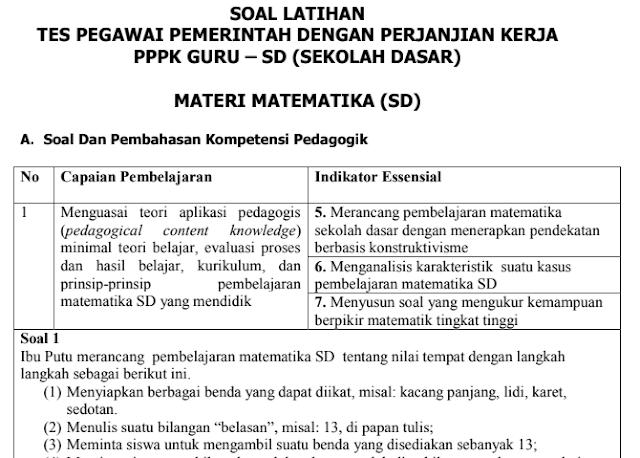 Soal Tes Latihan Seleksi Guru PPPK Materi Matematika Untuk SD