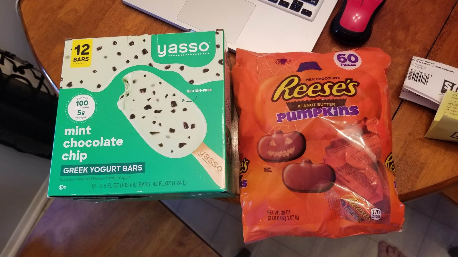 Yasso Greek frozen yogurt bars and Reese's pumpkins from BJ's, yum!