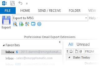 The MessageExport toolbar in Outlook 2013.