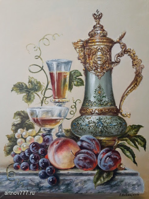 Картина 30х40см. Кувшин, сливы, персик и виноград