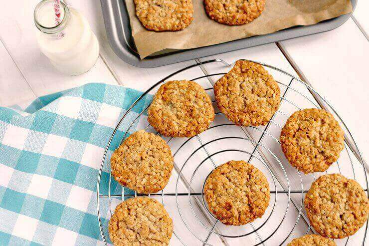 Golden Syrup and Oat Cookies on cooling rack
