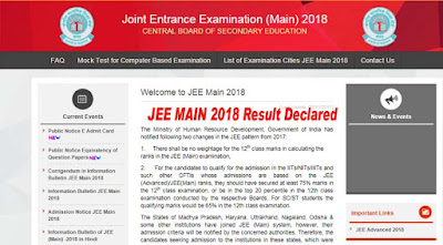 JEE Main Result 2018 Declared jeemain.nic.in Name Wise, Top 10 Student List, 2,31,024 Qualify For JEE Advanced 2018
