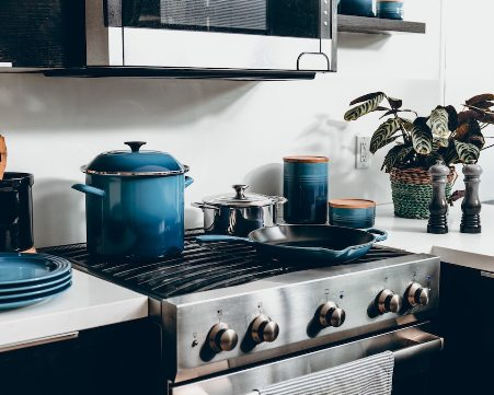 a stove with pots on it