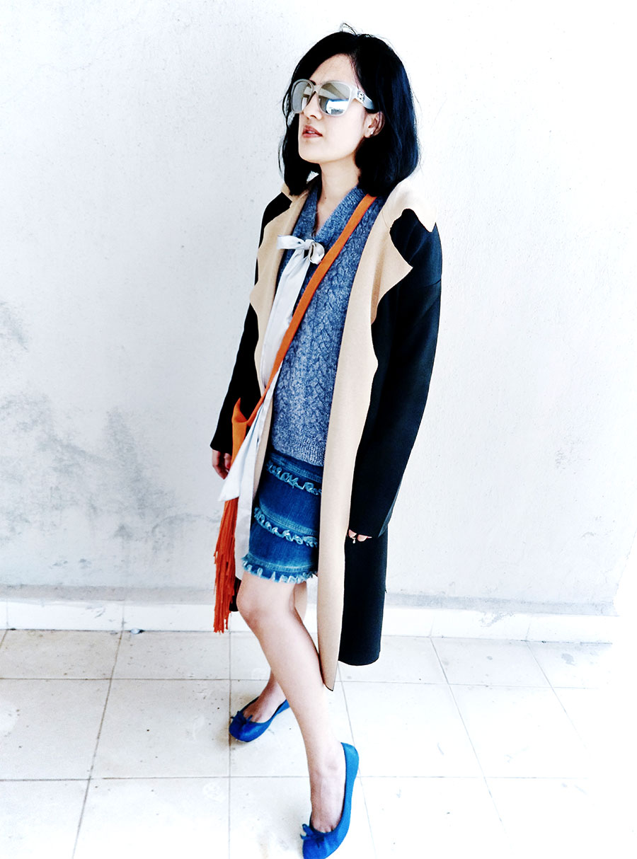 denim ripped skirt,jersey duster coat, 3 way to style sweater vest
