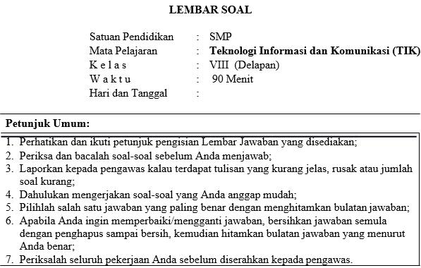 Soal Dan Kunci Jawaban Pat Informatika Smp Kelas 8 Kurikulum 2013 Didno76 Com