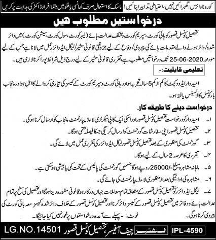 Tehsil Council Lahore Jobs