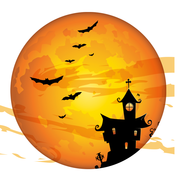 Silhouette of castle and bat flying illustration, Halloween Costume party Trick-or-treating Holiday, free orange png