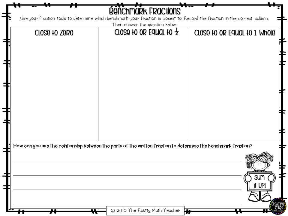 Free benchmark fractions worksheets