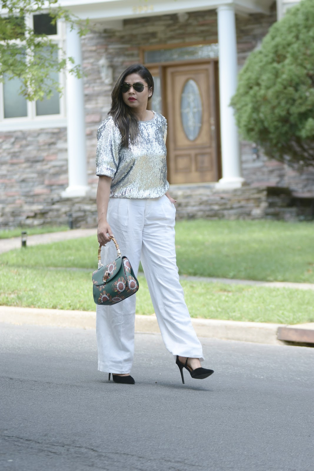 mod cloth squad, modcloth, green bag, sequin blouse, white trousers, white after labor day, black heels, green starw handle bag , myriad musings , saumya shiohare