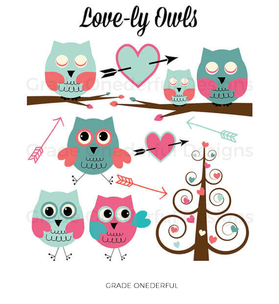 Valentine Owls Clipart Set by Grade ONEderful