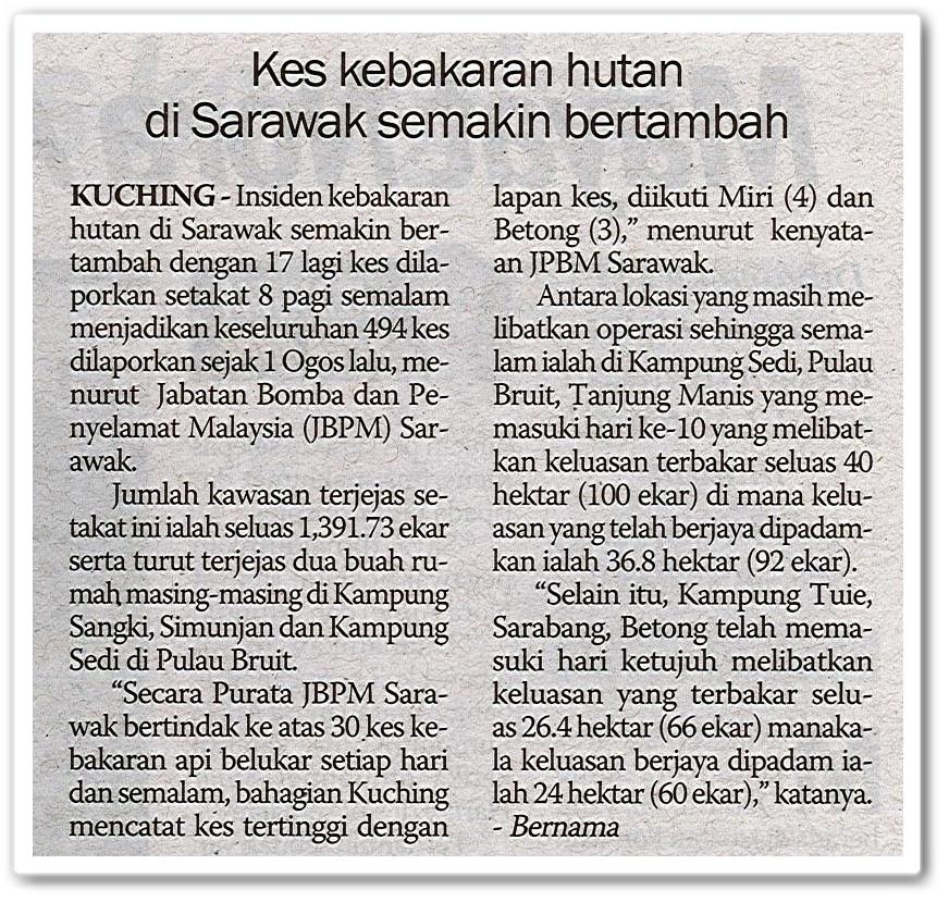 Kes kebakaran hutan di Sarawak semakin bertambah - Keratan akhbar Sinar Harian 18 Ogos 2019