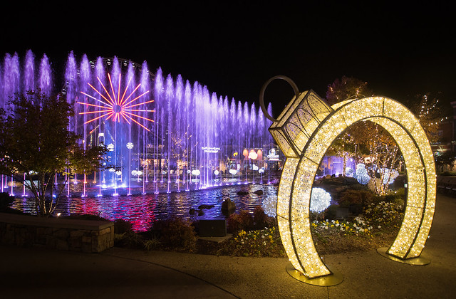 The Island Fountain on Christmas at Pigeon Forge