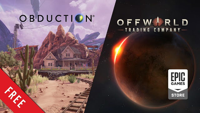 obduction offworld trading company free pc game sci-fi indie puzzle adventure real-time strategy game epic store cyan worlds mohawk games stardock entertainment