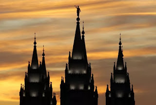The spire of the Salt Lake City Temple of the Church of Jesus Christ of Latter-Day Saints is seen in Salt Lake City on Oct. 12, 2011. Photographer: George Frey/Bloomberg