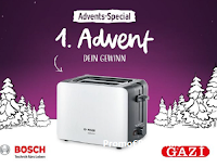 GAZI Calendario dell'Avvento 2020 : vinci gratis Tostapane Bosch